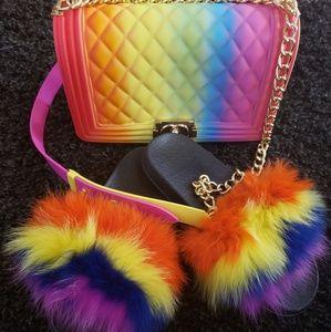 Shoes - Fox fur slides with Handbag
